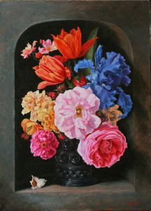 Bouquet à l'iris bleu