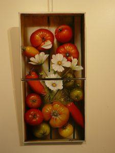 Diptyque de cageot de Tomates 2 fois 30x30